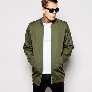 Men's long olive green army bomber